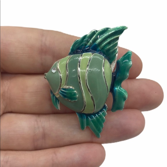 Tropical Fish BROOCH  Southwest Jewelry   Large Vintage Mexican Pin